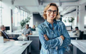 Woman smiling at work.